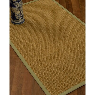 Rosabel Border Hand-Woven Beige/Natural Area Rug Rug Size: Rectangle 8 x 10, Rug Pad Included: Yes