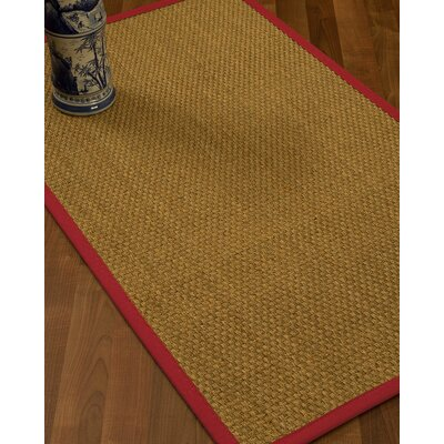 Rosabel Border Hand-Woven Beige/Red Area Rug Rug Size: Rectangle 5 x 8, Rug Pad Included: Yes
