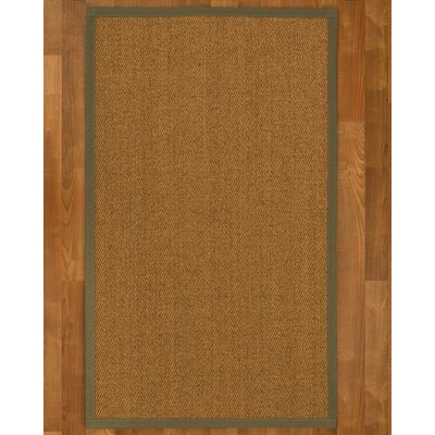 Asmund Border Hand-Woven Brown/Fossil Area Rug Rug Size: Rectangle 8 x 10, Rug Pad Included: Yes
