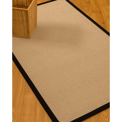 Chea Border Hand-Woven Wool Beige/Black Area Rug Rug Size: Rectangle 6 x 9, Rug Pad Included: Yes