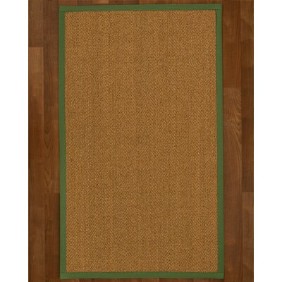 Asmund Border Hand-Woven Brown/Green Area Rug Rug Size: Rectangle 6 x 9, Rug Pad Included: Yes