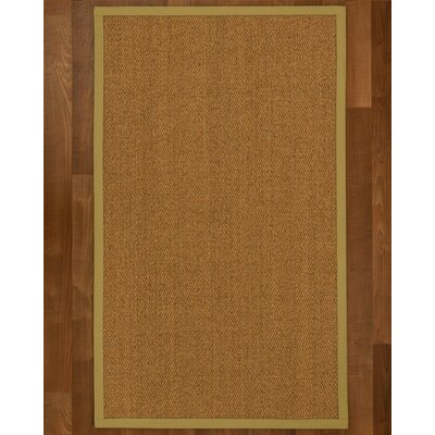 Asmund Border Hand-Woven Brown/Khaki Area Rug Rug Size: Rectangle 4 x 6, Rug Pad Included: Yes