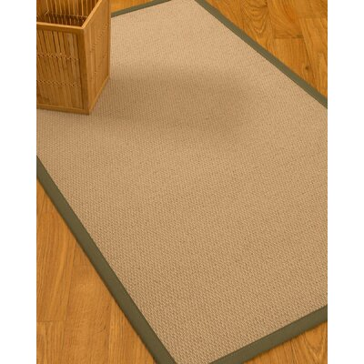 Chea Border Hand-Woven Wool Beige/Fossil Area Rug Rug Size: Rectangle 4 x 6, Rug Pad Included: Yes