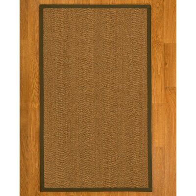 Asmund Border Hand-Woven Brown/Malt Area Rug Rug Size: Rectangle 9 x 12, Rug Pad Included: Yes