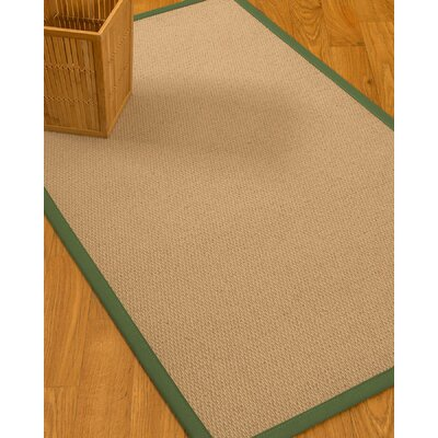 Chea Border Hand-Woven Wool Beige/Green Area Rug Rug Size: Rectangle 8 x 10, Rug Pad Included: Yes