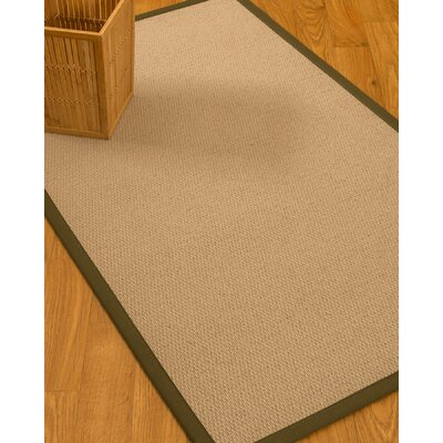 Chea Border Hand-Woven Wool Beige/Malt Area Rug Rug Size: Rectangle 5 x 8, Rug Pad Included: Yes