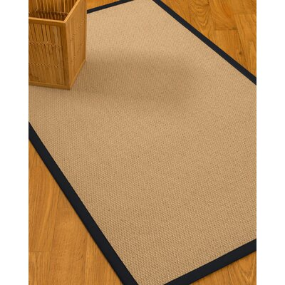 Chea Border Hand-Woven Wool Beige/Midnight Blue Area Rug Rug Size: Rectangle 5 x 8, Rug Pad Included: Yes