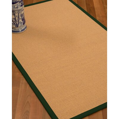 Lafayette Border Hand-Woven Wool Beige/Moss Area Rug Rug Size: Rectangle 5 x 8, Rug Pad Included: Yes