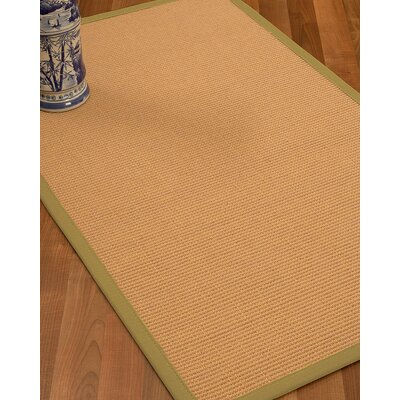 Lafayette Border Hand-Woven Wool Beige/Natural Area Rug Rug Size: Rectangle 6 x 9, Rug Pad Included: Yes