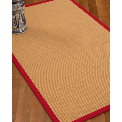 Lafayette Border Hand-Woven Wool Beige/Red Area Rug Rug Size: Rectangle 4 x 6, Rug Pad Included: Yes