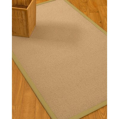 Chea Border Hand-Woven Wool Beige/Sand Area Rug Rug Size: Rectangle 6 x 9, Rug Pad Included: Yes