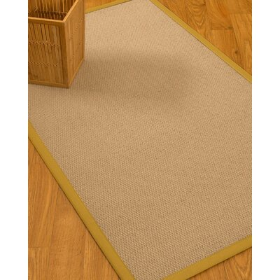 Chea Border Hand-Woven Wool Beige/Tan Area Rug Rug Size: Rectangle 4 x 6, Rug Pad Included: Yes