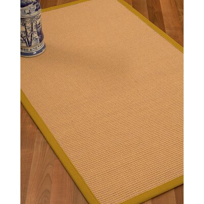 Lafayette Border Hand-Woven Wool Beige/Tan Area Rug Rug Size: Rectangle 6 x 9, Rug Pad Included: Yes