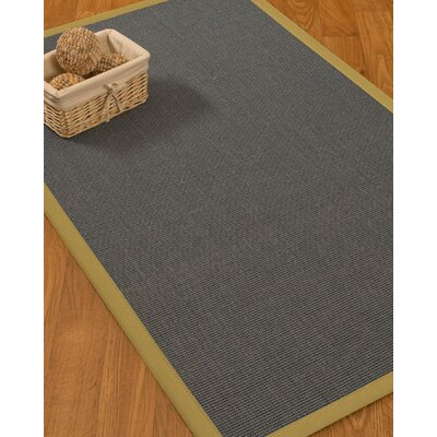 Ivy Border Hand-Woven Gray/Khaki Area Rug Rug Size: Rectangle 6 x 9, Rug Pad Included: Yes