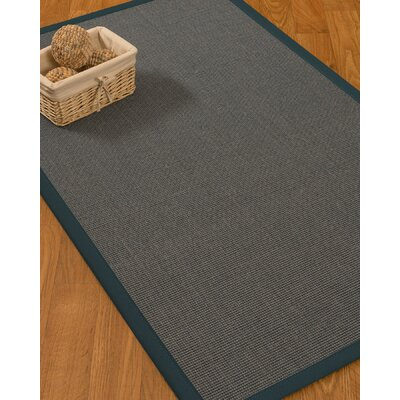 Ivy Border Hand-Woven Gray/Marine Area Rug Rug Size: Rectangle 6 x 9, Rug Pad Included: Yes