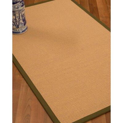 Lafayette Border Hand-Woven Wool Beige/Malt Area Rug Rug Size: Rectangle 9 x 12, Rug Pad Included: Yes