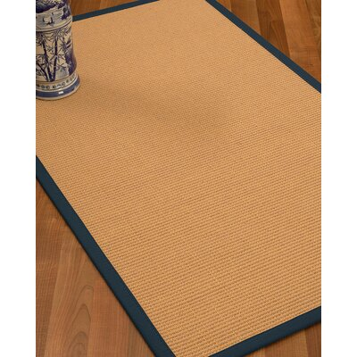 Lafayette Border Hand-Woven Wool Beige/Marine Area Rug Rug Size: Runner 26 x 8, Rug Pad Included: No