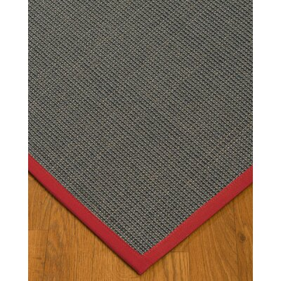 Ivy Border Hand-Woven Gray/Red Area Rug Rug Size: Rectangle 6 x 9, Rug Pad Included: Yes