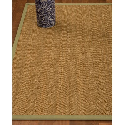 Heidenreich Border Hand-Woven Beige/Natural Area Rug Rug Size: Rectangle 8 x 10, Rug Pad Included: Yes