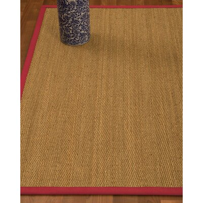 Heidenreich Border Hand-Woven Beige/Red Area Rug Rug Size: Rectangle 5 x 8, Rug Pad Included: Yes