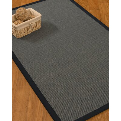 Ivy Border Hand-Woven Gray/Midnight Blue Area Rug with Free Rug Pad
