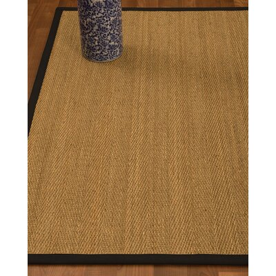 Heidenreich Border Hand-Woven Beige/Black Area Rug Rug Size: Rectangle 12 x 15, Rug Pad Included: Yes