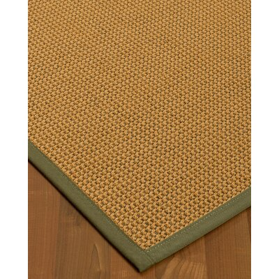 Atia Border Hand-Woven Beige/Fossil Area Rug Rug Size: Rectangle 12 x 15, Rug Pad Included: Yes