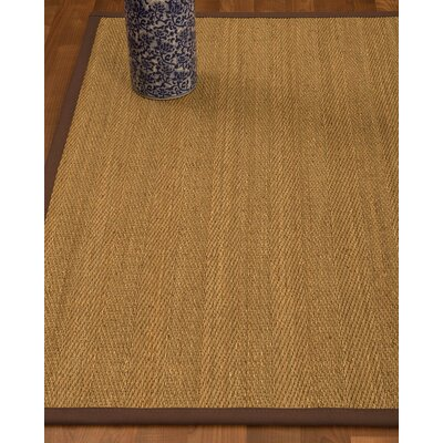 Heidenreich Border Hand-Woven Beige/Brown Area Rug Rug Size: Rectangle 8 x 10, Rug Pad Included: Yes