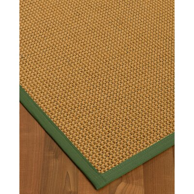Atia Border Hand-Woven Beige/Green Area Rug Rug Size: Rectangle 5 x 8, Rug Pad Included: Yes