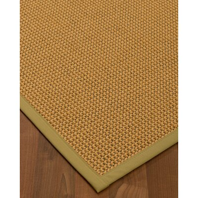 Atia Border Hand-Woven Beige/Khaki Area Rug Rug Size: Rectangle 9 x 12, Rug Pad Included: Yes
