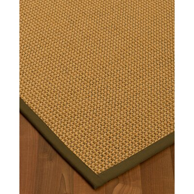 Atia Border Hand-Woven Brown Area Rug Rug Size: Rectangle 5 x 8, Rug Pad Included: Yes