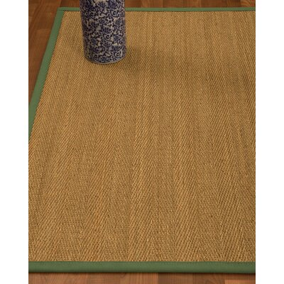 Heidenreich Border Hand-Woven Beige/Green Area Rug Rug Size: Rectangle 8 x 10, Rug Pad Included: Yes