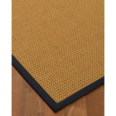 Atia Border Hand-Woven Beige/Midnight Blue Area Rug Rug Size: Rectangle 9 x 12, Rug Pad Included: Yes