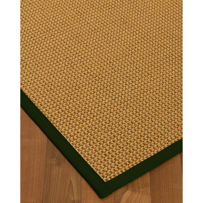 Atia Border Hand-Woven Beige/Moss Area Rug Rug Size: Rectangle 9 x 12, Rug Pad Included: Yes