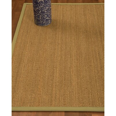 Heidenreich Border Hand-Woven Beige/Khaki Area Rug Rug Size: Rectangle 5 x 8, Rug Pad Included: Yes