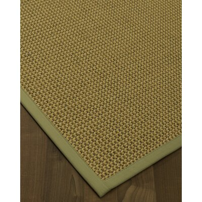 Atia Border Hand-Woven Green/Natural Area Rug Rug Size: Rectangle 6 x 9, Rug Pad Included: Yes