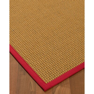 Atia Border Hand-Woven Beige/Red Area Rug Rug Size: Rectangle 6 x 9, Rug Pad Included: Yes
