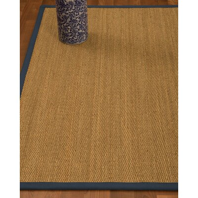 Heidenreich Border Hand-Woven Beige/Marine Area Rug Rug Size: Rectangle 5 x 8, Rug Pad Included: Yes