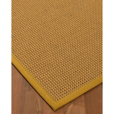 Atia Border Hand-Woven Beige/Tan Area Rug Rug Size: Rectangle 6 x 9, Rug Pad Included: Yes