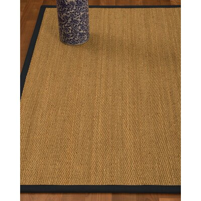 Heidenreich Border Hand-Woven Beige/Midnight Blue Area Rug Rug Size: Rectangle 5 x 8, Rug Pad Included: Yes