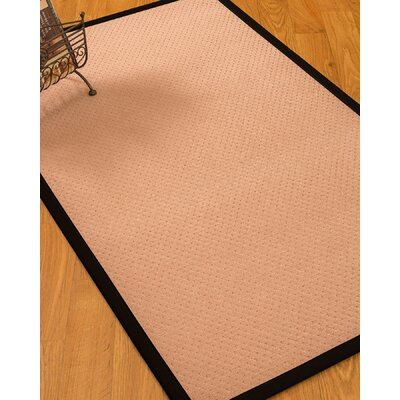 Farnham Border Hand-Woven Wool Pink/Black Area Rug Rug Size: Rectangle 5 x 8, Rug Pad Included: Yes