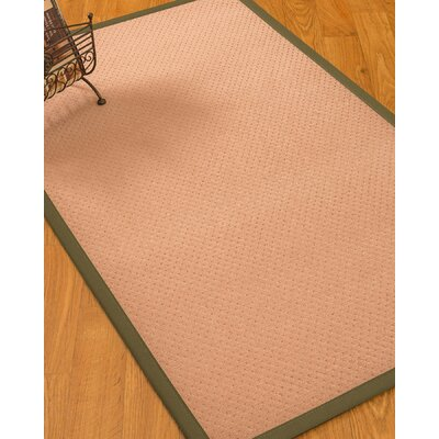 Farnham Border Hand-Woven Wool Pink/Olive Area Rug Rug Size: Rectangle 3 x 5, Rug Pad Included: No