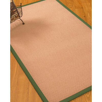 Farnham Border Hand-Woven Wool Pink/Green Area Rug Rug Size: Rectangle 9 x 12, Rug Pad Included: Yes
