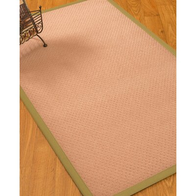 Farnham Border Hand-Woven Wool Pink/Olive Area Rug Rug Size: Rectangle 9 x 12, Rug Pad Included: Yes