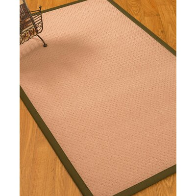 Farnham Border Hand-Woven Wool Pink/Olive Area Rug Rug Size: Rectangle 6 x 9, Rug Pad Included: Yes