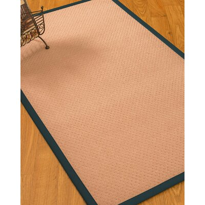Farnham Border Hand-Woven Wool Pink/Marine Area Rug Rug Size: Rectangle 6 x 9, Rug Pad Included: Yes