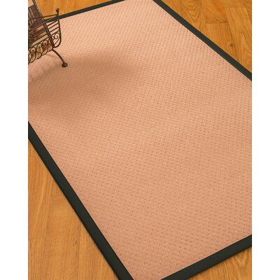 Farnham Border Hand-Woven Wool Pink/Black Area Rug Rug Size: Rectangle 9 x 12, Rug Pad Included: Yes