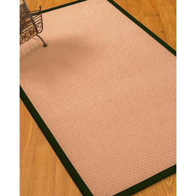 Farnham Border Hand-Woven Wool Pink/Moss Area Rug Rug Size: Rectangle 6 x 9, Rug Pad Included: Yes