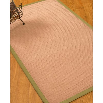 Farnham Border Hand-Woven Wool Pink/Natural Area Rug Rug Size: Rectangle 9 x 12, Rug Pad Included: Yes