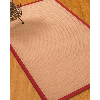 Farnham Border Hand-Woven Wool Pink/Red Area Rug Rug Size: Rectangle 5 x 8, Rug Pad Included: Yes